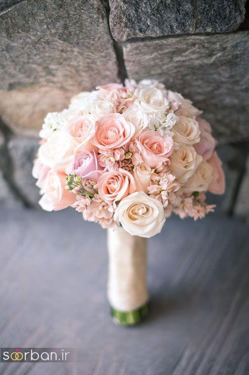 عکس مدل دسته گل عروس 2017 با رز سفید و صورتی
