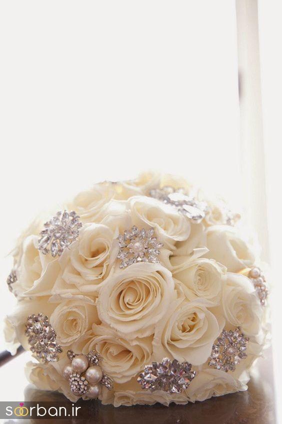 دسته گل عروس رز سفید5