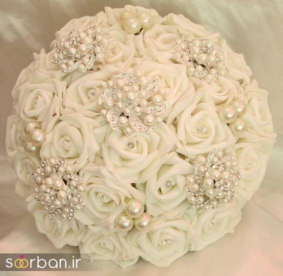 دسته گل عروس رز سفید6