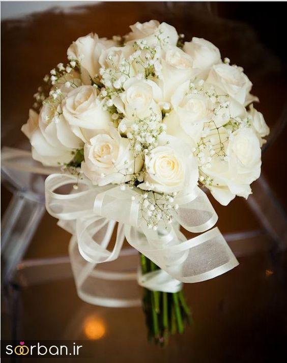 دسته گل عروس رز سفید7