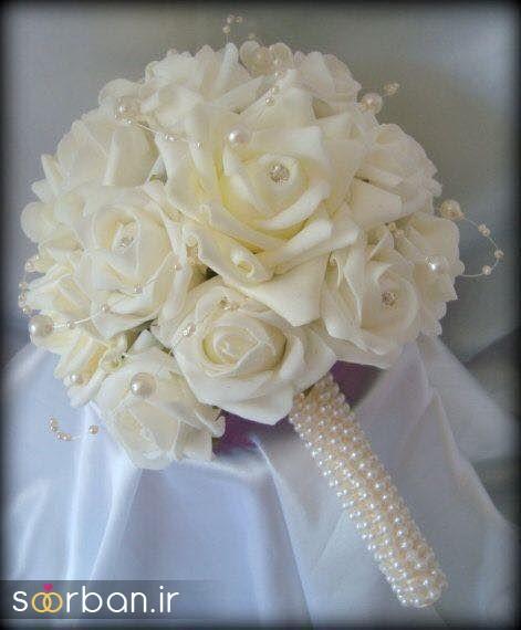 دسته گل عروس رز سفید9