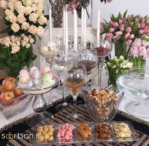 تزیین میز با تور ساتن سفره هفت سین عروس شیک با تزیینات جدید هفت سین