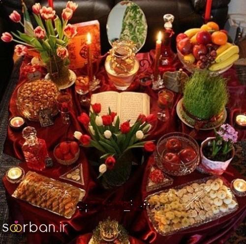 تزیین میز با تور ساتن تزیین هفت سین عروس جدید و زیبا 98