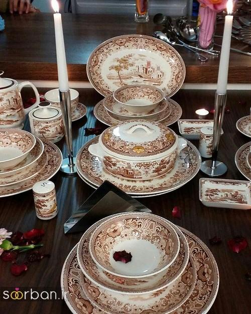 چیدمان لیوان در کابینت تزیین و چیدمان وسایل آشپزخانه جهیزیه عروس