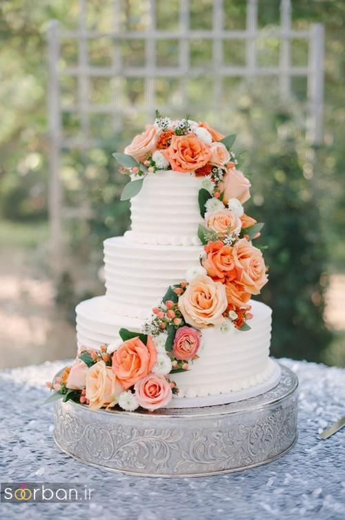 کیک عروسی با روکش خامه 2017