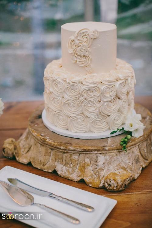 کیک عروسی با تزیین خامه خوشگل