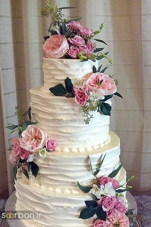 عکس کیک عروسی طبقاتی با روکش خامه خاص