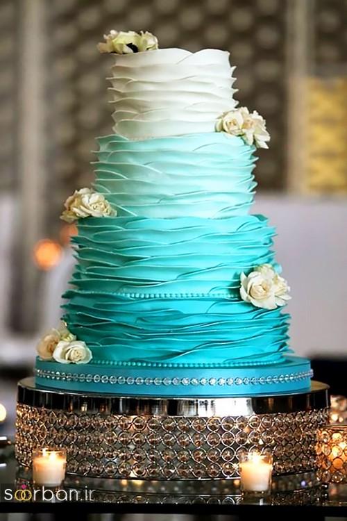 کیک عروسی با روکش خامه 2017 آبی