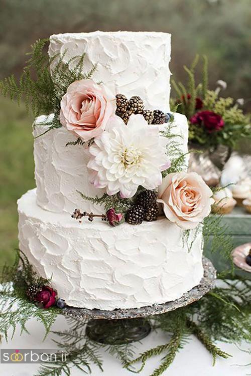 عکس کیک عروسی با روکش خامه شیک و زیبا 2017