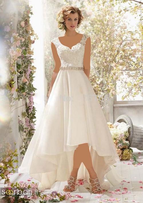 لباس عروس جلو کوتاه پشت بلند بسیار زیبا 2017 یقه دلبر