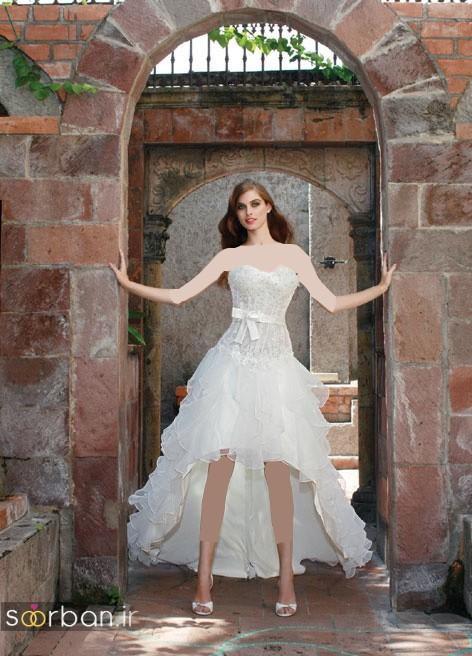 لباس عروس جلو کوتاه پشت بلند با دامن تور