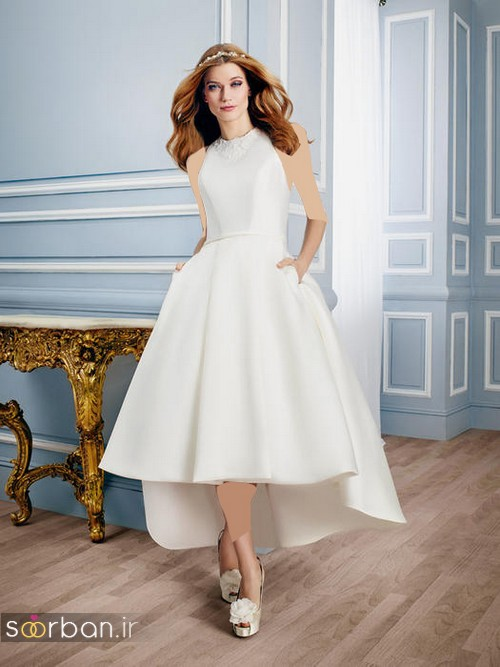 لباس عروس جلو کوتاه پشت بلند شیک و ساده