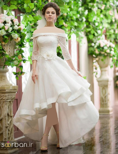 مدل لباس عروس جلو کوتاه پشت بلند آستین دار