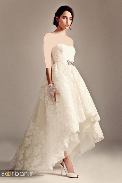 لباس عروس جلو کوتاه پشت بلند دکلته جدید