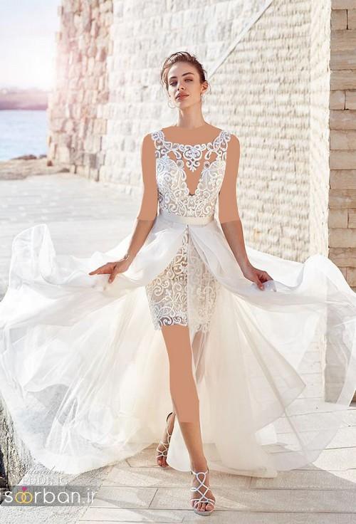 عکس مدل لباس عروس 2017 جلو کوتاه پشت بلند دنباله دار گیپور