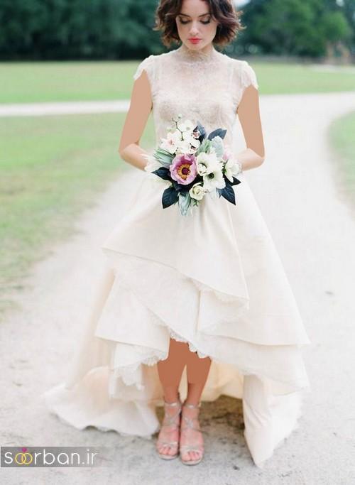 لباس عروس جلو کوتاه پشت بلند بدون آستین جدید و شیک