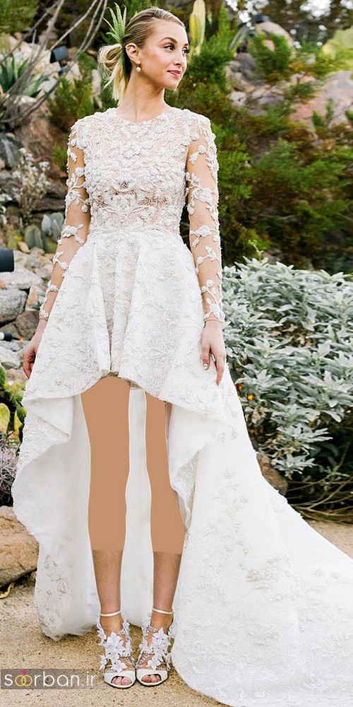 لباس عروس جلو کوتاه پشت بلند با آستین گیپور