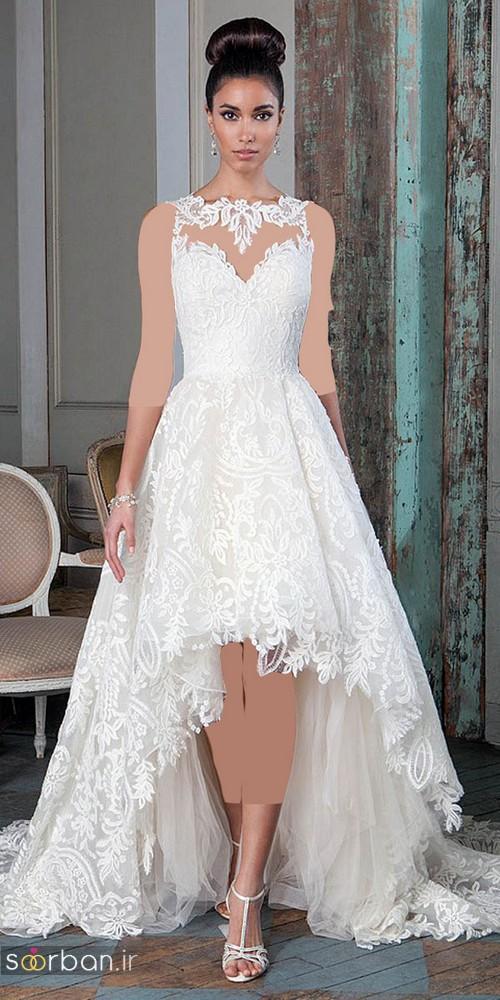 لباس عروس جلو کوتاه پشت بلند دانتل بدون آستین