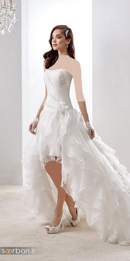 لباس عروس جلو کوتاه پشت بلند با دامن چین دار