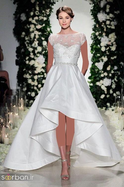 لباس عروس جلو کوتاه پشت بلند و بالاتنه تور ساتن