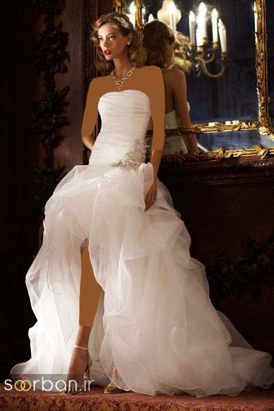 مدل لباس عروس جلو کوتاه پشت بلند با دامن تور  دکلته