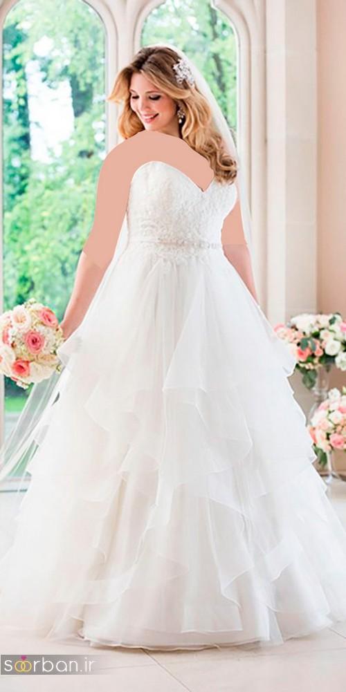 مدل لباس عروس سایز بزرگ دکلته 2017