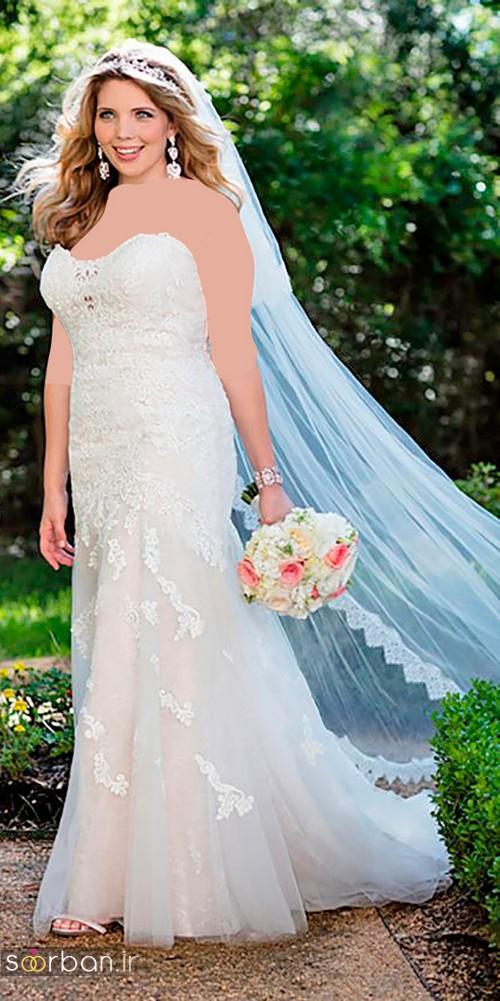 مدل لباس عروس سایز بزرگ 2017 دکلته