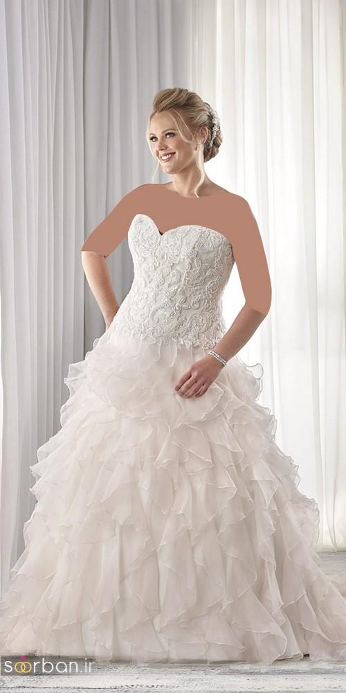 مدل لباس عروس دکلته سایز بزرگ 2017 برای عروس های درشت