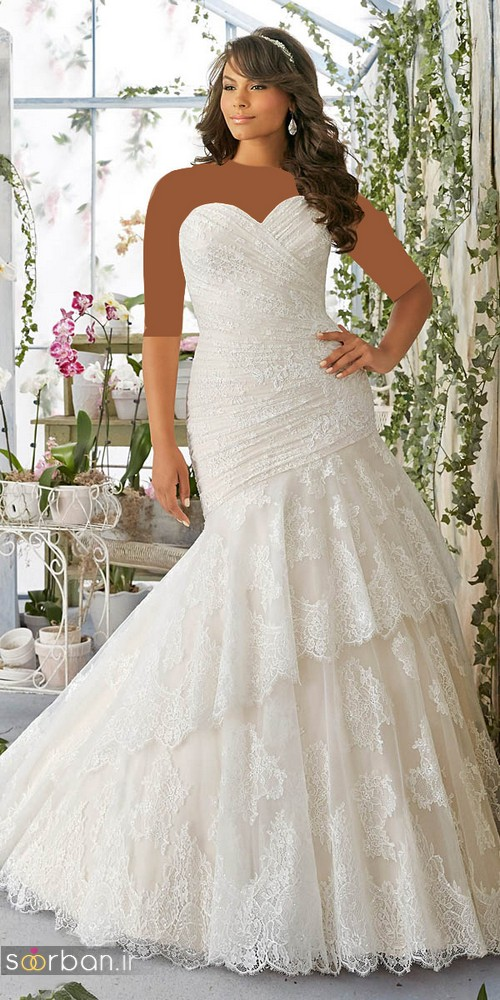 لباس دانتل سایز بزرگ مدل لباس عروس سایز بزرگ جدید و زیبا 2017