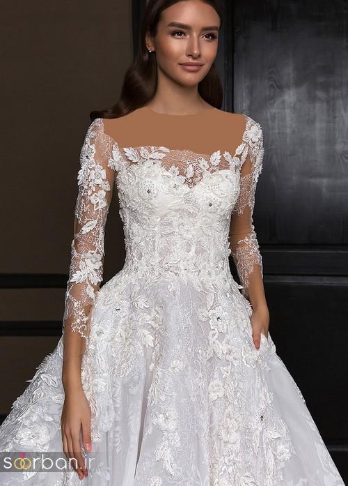 مدل لباس عروس جدید 2018 و سال 97  آستین دار