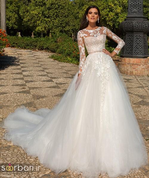 مدل لباس عروس جدید 2018 و سال 97 آستین دار دانتل با دامن دنباله دار جدید