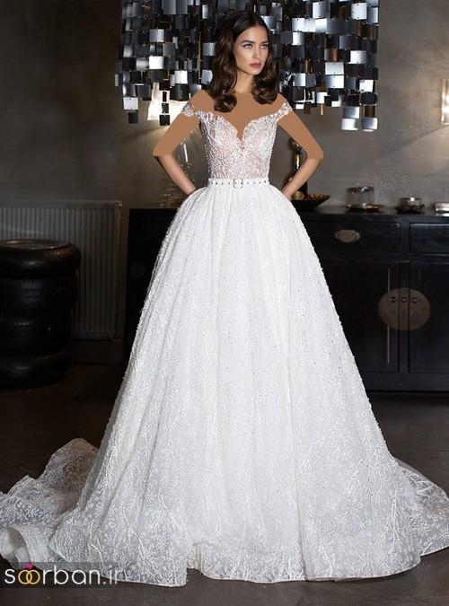 لباس عروس شانه باز رمانتیک جدید-1