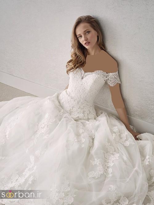 لباس عروس شانه باز رمانتیک جدید-2