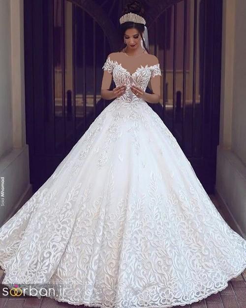 لباس عروس شانه باز رمانتیک جدید-3