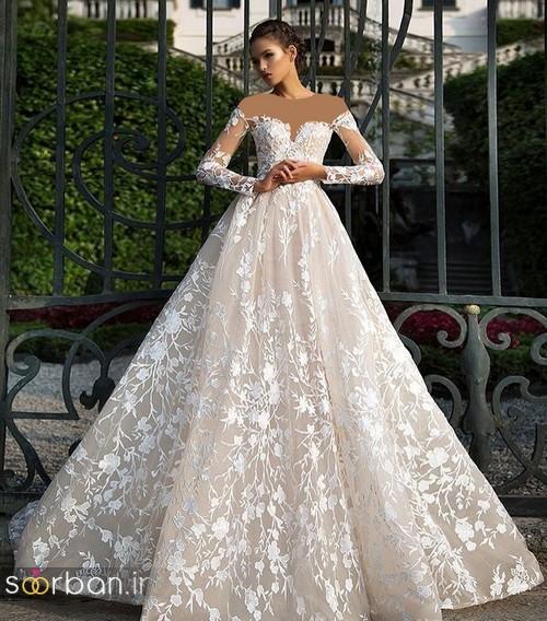 لباس عروس شانه باز رمانتیک جدید-4