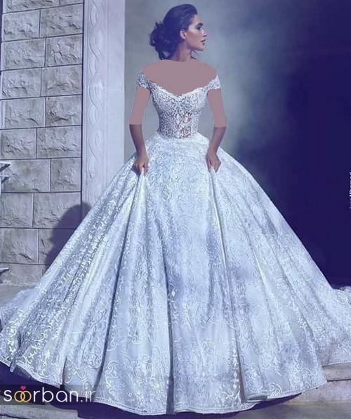 لباس عروس شانه باز رمانتیک جدید-6