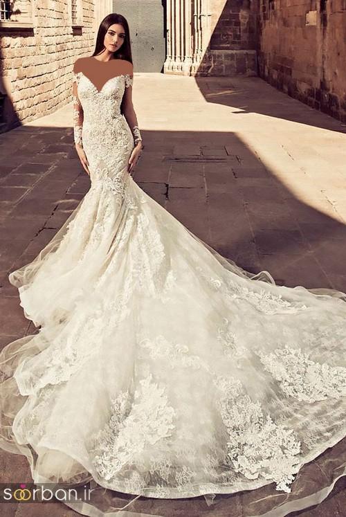 لباس عروس شانه باز رمانتیک جدید-9