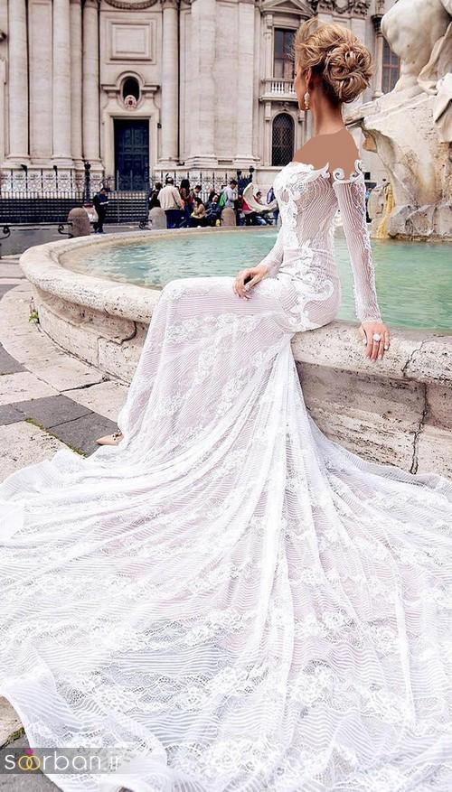 لباس عروس شانه باز رمانتیک جدید-10