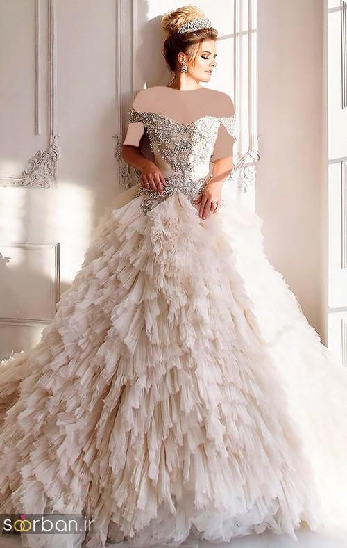 لباس عروس شانه باز رمانتیک جدید-12