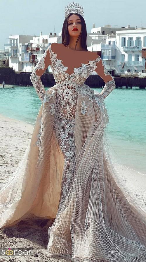 لباس عروس شانه باز رمانتیک جدید-14