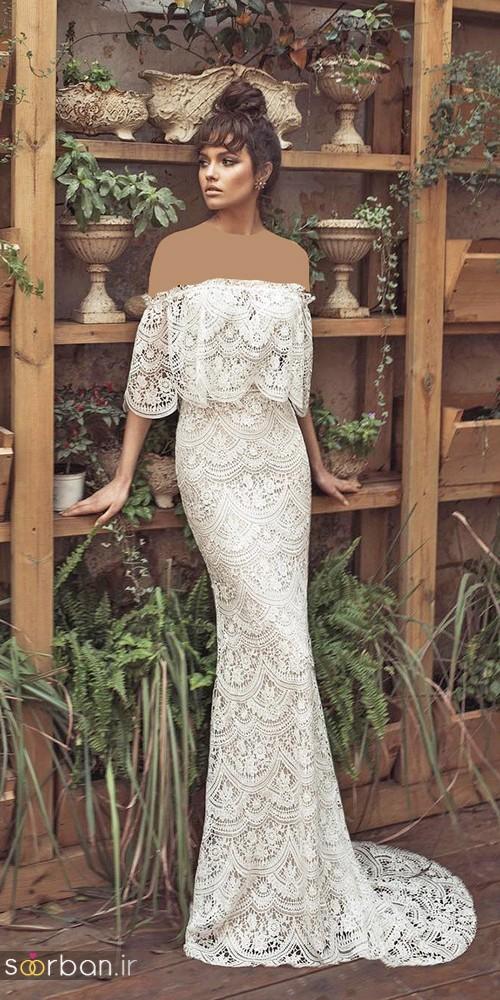لباس عروس شانه باز رمانتیک جدید-15