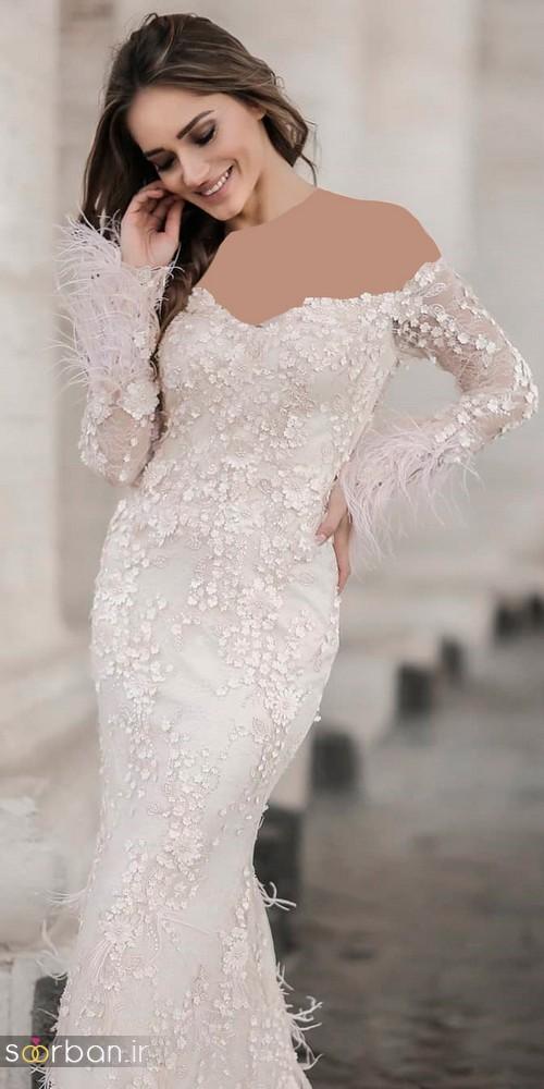 لباس عروس شانه باز رمانتیک جدید-16
