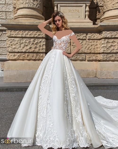 لباس عروس شانه باز رمانتیک جدید-17