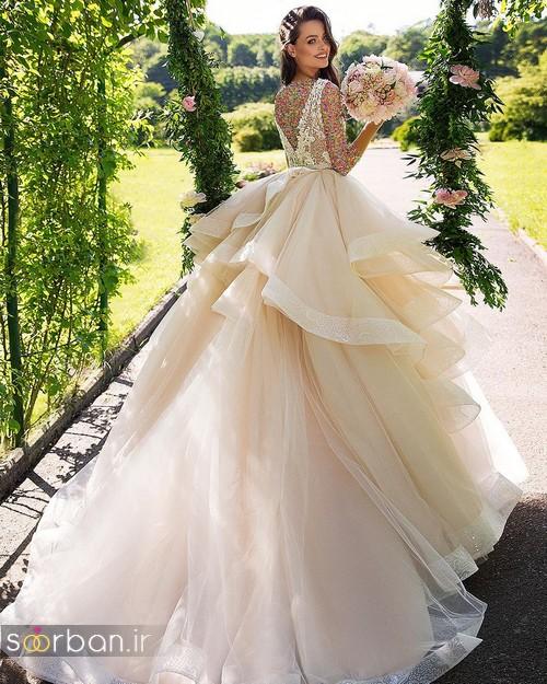 مدل لباس عروسی پرنسسی جدید پفی چین دار