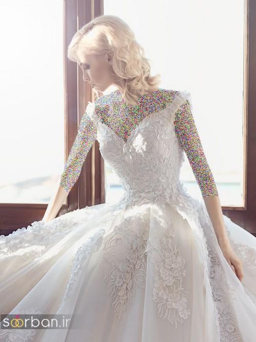 مدل لباس عروسی پرنسسی جدید شیک یقه دلبر