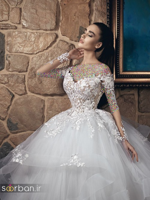 عکس مدل لباس عروسی پرنسسی جدید شیک و جدید آستین دار