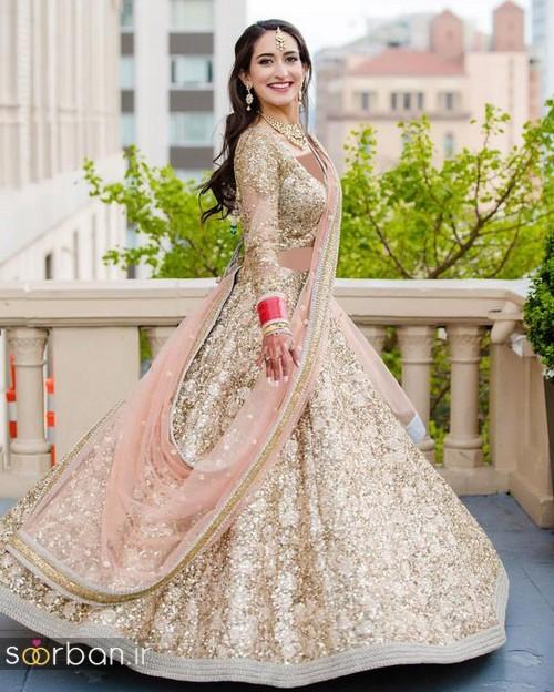لباس عروس هندی زنانه 2018 شیری