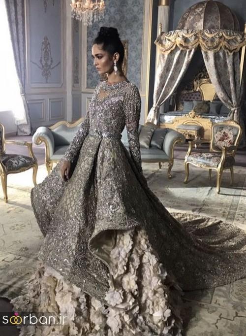 لباس عروس هندی بلند پرنسسی شیک و زیبا