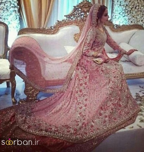 لباس عروس هندی بلند و مجلسی شیک 2018