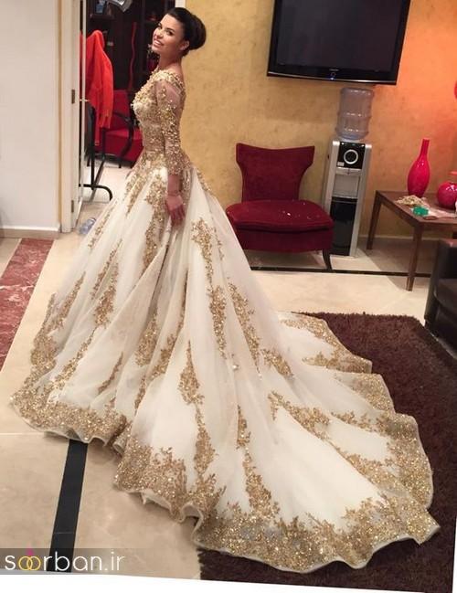 لباس عروس هندی بلند کرمی چین دار  دنباله دار